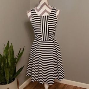 Attention Striped Fit and Flair Dress